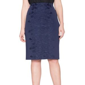 Eloquii Navy STUDIO Collection Lace Pencil Skirt